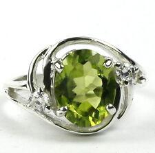 • SR021, 10x8mm, Natural Peridot, Sterling Silver Ladies Ring -Handmade