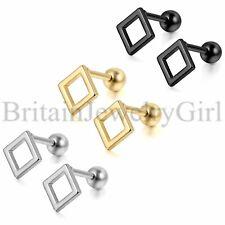 Men Women Unisex Stainless Steel Hollow Square Screw Back Stud Earrings Piercing
