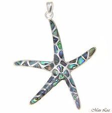 925 Sterling Silver Hawaiian Starfish Sea Star Abalone Paua Shell Pendant S M L
