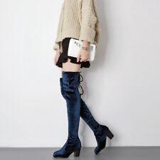 botas azul rodilla muslo talón 7 cm cómodo como piel 9428