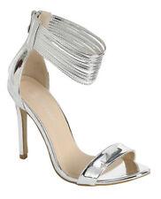 New women's shoes evening open toe back zipper high heel wedding prom silver