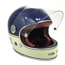 Viper F656 Vintage Retro Style Fibreglass Full Face Motorcycle Helmet - Blue