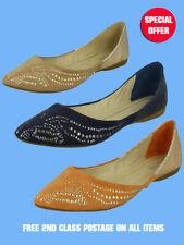 Womens Flat Pumps Studded Toe Glitter Heel - Choice of three colours (Sizes 3-8)