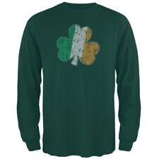 St. Patricks Day - Shamrock Flag Forest Green Adult Long Sleeve T-Shirt