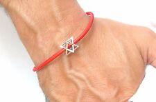 Kabbalah Merkaba Merkabah Chariot Protection  Sterling Silver leather bracelet