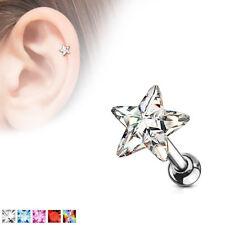 Tragus Piercing - de barra Estrella Colgante Circonia Pendiente Oreja #569