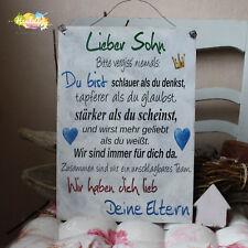 Shabby Style - Lieber Sohn -Deine Eltern- Holzschild Geschenk Deko HandsArt
