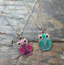 925 Silver Necklace & Colourful Owl Pendant  Ladies Girls Gift Wildlife Bird