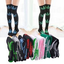Sale Women Girl Marijuana Weed Maple Casual Sport Knee High Stocking Long Socks