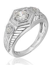 Art Deco Inspired Milgrain Ring Sterling Silver 1/2ct Tw Cubic Zirconia