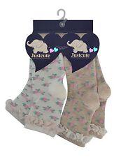 Girls socks floral & lacy trim neutral colours  90% COTTON rich 2 pairs