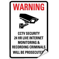 Warning Cctv Security 24 Hr Internet Monitoring & Recording Label Decal Sticker