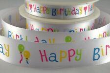 White DF Satin ribbon multi colour Happy Birthday Print 15 / 25m x 2M cut or 20M