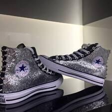Converse all Star Nere personalizzate con tessuto Glitter argento Clean borchie