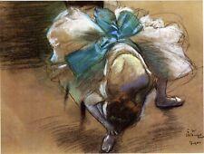 Degas Dancer Drawings: Tying Her Slipper #1 - Art Print
