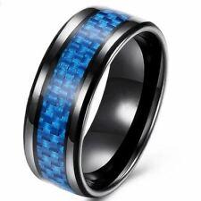 Ring Fingerring  Edelstahl & Legierung unisex mit Blau Carbon Fiber 8 mm(24L)