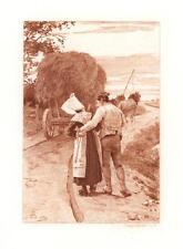 ANTIQUE NORMANDY COSTUME WOMAN MAN HORSE CART WAGON CROP FARMER SEPIA PRINT