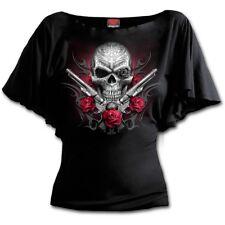 Spiral DEATH PISTOL Boat Neck Bat Sleeve Top, Rock, Biker, Roses, Skull, Guns