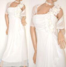 VESTIDO largo BLANCO estola velada mujer perlas seda matrimonio long dress 20 X