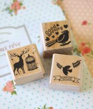 Wood Stamp Happy Mori cute Bird Reindeer mini cartoon diary craft rubber stamps
