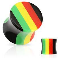 PAIR RASTA STRIPED SADDLE TUNNELS EAR PLUGS JAMAICA GAUGES Size 8g-00g PIERCINGS