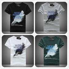 Hommes Conception Style Short Manches Décontracté Haut En Coton Doux T-Shirt