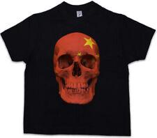 CLASSIC CHINA SKULL FLAG Kids Boys T-Shirt - Biker MC Banner Shirt