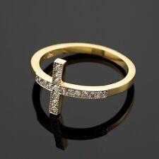 Gold Diamond Sideways Cross Ring