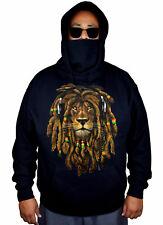 Men's Dreadlocks Rasta Lion Mask Hoodie Jamaican Weed Blunt Kush Sweater Jacket