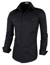Mens Slim Fit Shirts Casual Long Seleve Luxury Formal Dress Shirts Tops