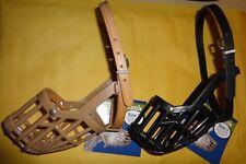 Italian Basket Dog Muzzle Leather Brothers OmniPet - Size 3, Tan & Black - NEW