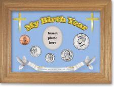 Blue Framed Birth Year Coin Gift Set For Boys, Cross Motif, 2011