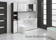 Mali WENGE / BIANCO LUCIDO BAGNO MONTATO Furniture 2100 mm con unità muro