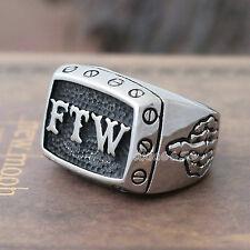 Men's Heavy FTW Middle Finger Ring Jewelry Stainless Steel Skull Skeleton Hand