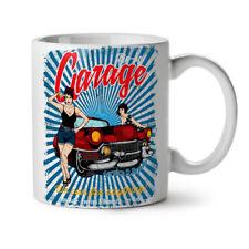 Pin Up Car Garage NEW White Tea Coffee Mug 11 oz | Wellcoda