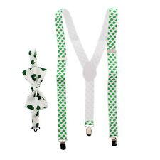 Zac's Alter Ego® Men's Matching Clover Leaf Suspenders & Bow Tie Combo Set