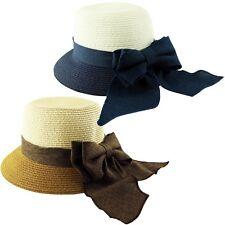 Ladies Paper Straw 2 Tone Ribbon Bow Band Sun Panama Hat Cap Navy Brown Summer