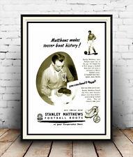 Matthews makes soccer boot : old Magazine advert, Reproduction poster, Wall art.
