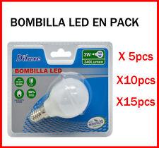 BOMBILLA LED 3W CASQUILLO PEQUEÑO E14 LUZ BLANCA 6400K PACK DE AHOORO DESDE 5 UD