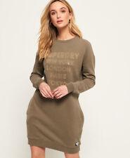 New Womens Superdry Embellished Sweat Dress Khaki