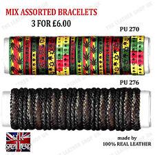 Friendship Adjustable Bracelets Uk Seller 3pcs Assorted Handmade Leather Fashion