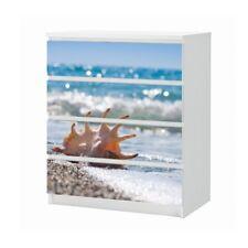 Set Möbelaufkleber für Ikea Kommode MALM 4 Fächer Wasser Meer Folie 25B1423