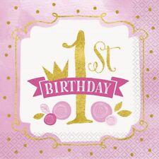 rose & or 1st anniversaire 33cm Serviettes en papier pour fête mouchoirs