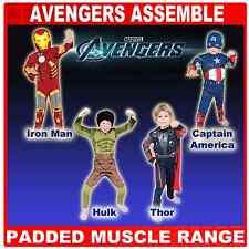 Deluxe AVENGERS THOR HULK Ironman & CAPITAN AMERICA IMBOTTITO Muscolo Costume 3-8Yrs