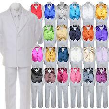 7pc Boys Baby Toddler Kid Formal Wedding White Tuxedo Suits Vest Set Bow Tie S-7