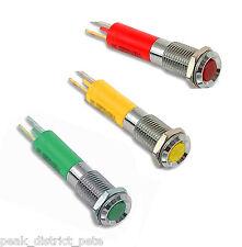 Un voyant led, plat haut chrome bezel 12v 8mm dia choisir rouge, jaune vert