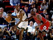 Gary Payton vs Michael Jordan Seattle Chicago Huge Giant Print POSTER Affiche