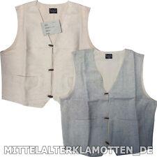 MittelalterWeste S-XXXL Baumwoll Mittelalter Weste Taschen gefüttert Leinen Look