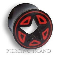 8mm - 14mm BLACK HORN Star chirurgico Flesh Tunnel Ear Plug Orecchio Piercing 204