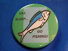 EAT SLEEP GO FISHING Lot of 12 BUTTONS pins fish sports angling  badge  pinbacks